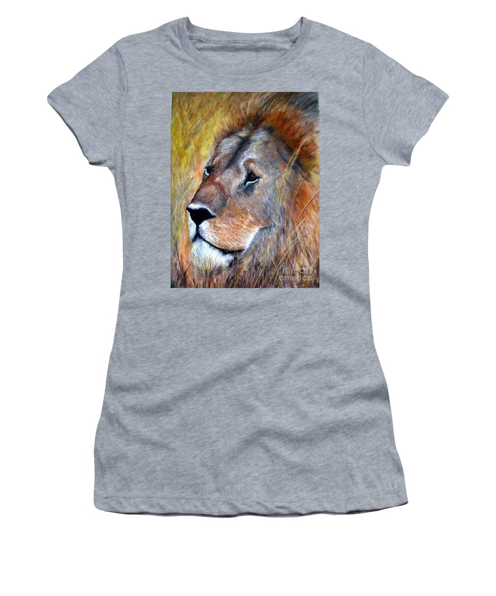 Lion Women's T-Shirt (Athletic Fit) featuring the painting leo by Frances Marino