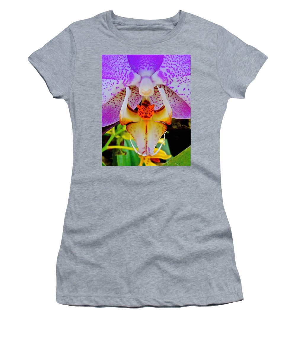 Chicago Botanic Garden Women's T-Shirt (Athletic Fit) featuring the photograph Leopard Dragon Orchid by Tim G Ross