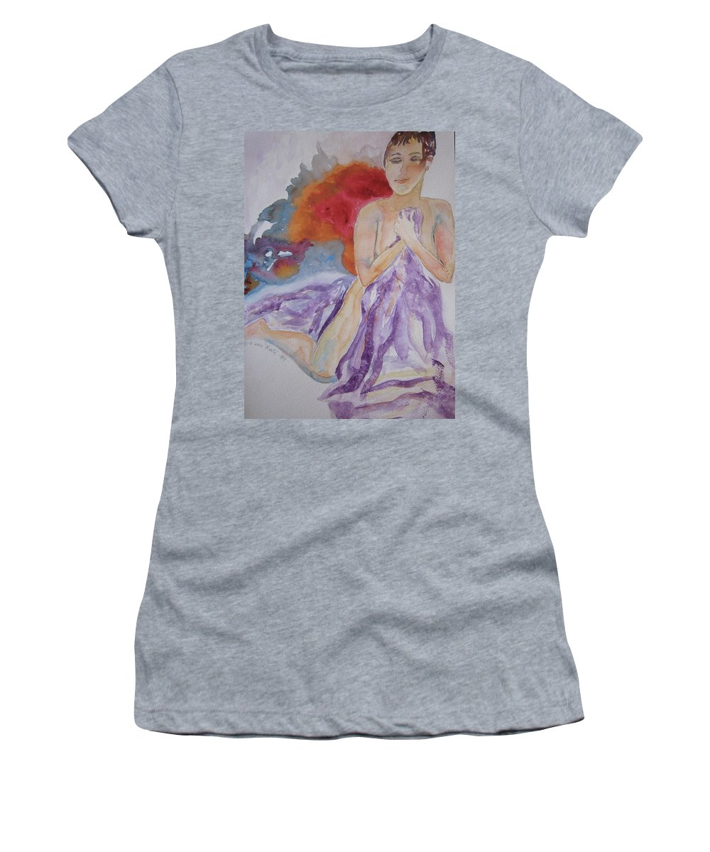 Nude Women's T-Shirt (Athletic Fit) featuring the painting Let It Burn by Beverley Harper Tinsley