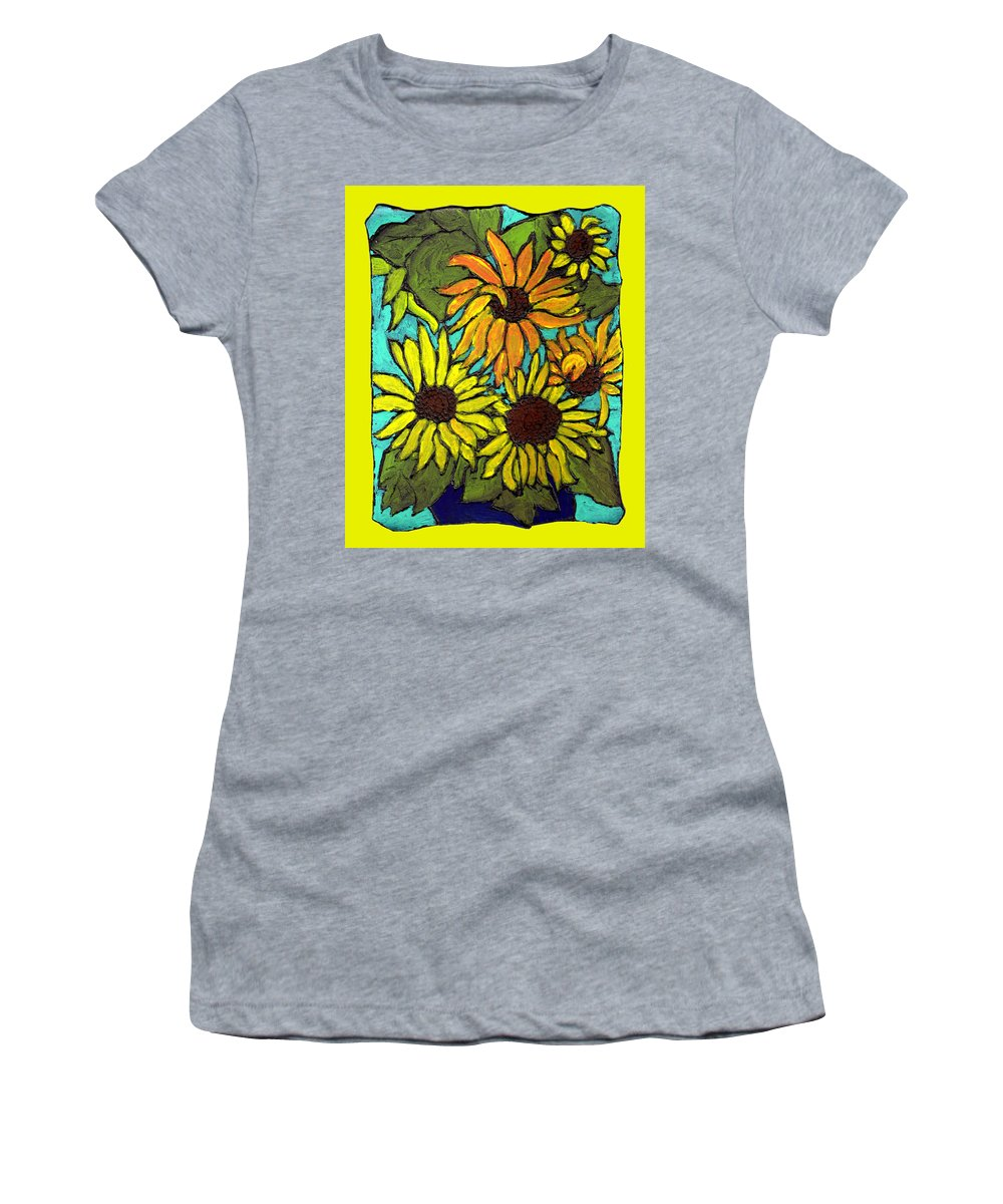 Yellow Women's T-Shirt (Athletic Fit) featuring the painting Let The Sunshine In by Wayne Potrafka