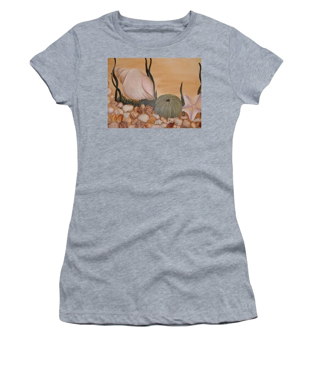 Shells Women's T-Shirt (Athletic Fit) featuring the painting Life In The Sea by Perola Oliveira