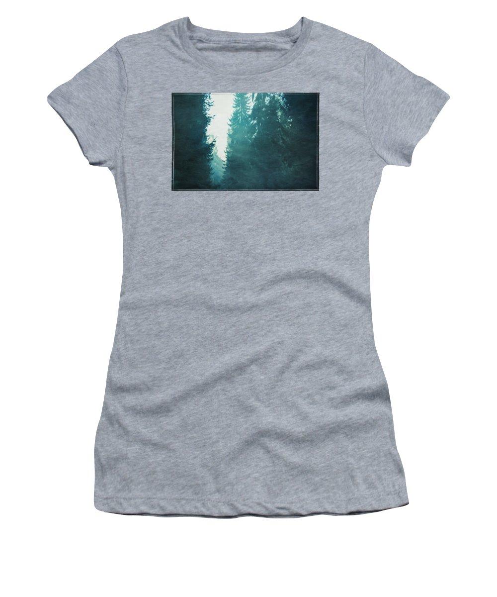 Trees Women's T-Shirt featuring the photograph Light Coming Through Fir Trees In Mist by Dirk Wuestenhagen