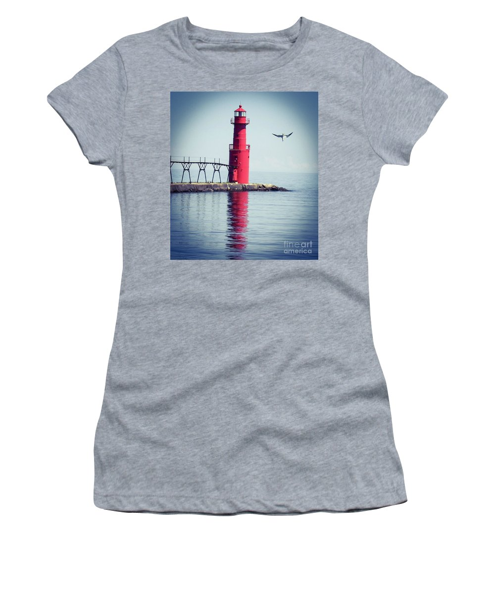 Color Women's T-Shirt (Athletic Fit) featuring the photograph Red Lighthouse by Dale Adams