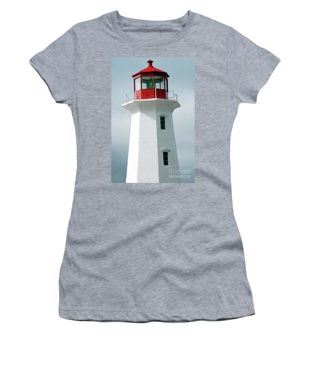 Lighthouse Women's T-Shirt (Athletic Fit) featuring the photograph Light House Peggy's Cove by Kathleen Struckle
