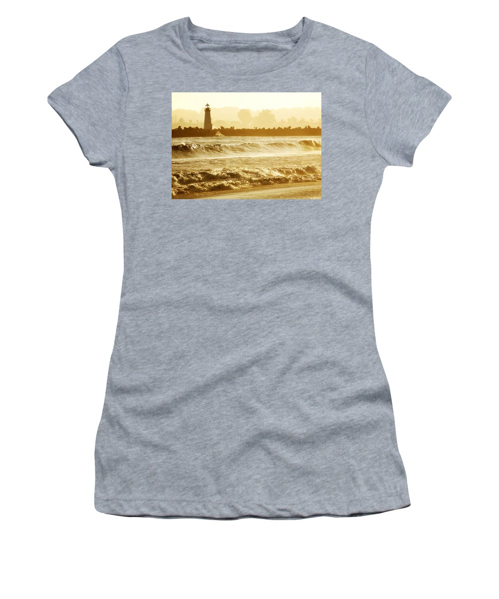Lighthouse Women's T-Shirt (Athletic Fit) featuring the photograph Lighthouse Sunset by Marilyn Hunt