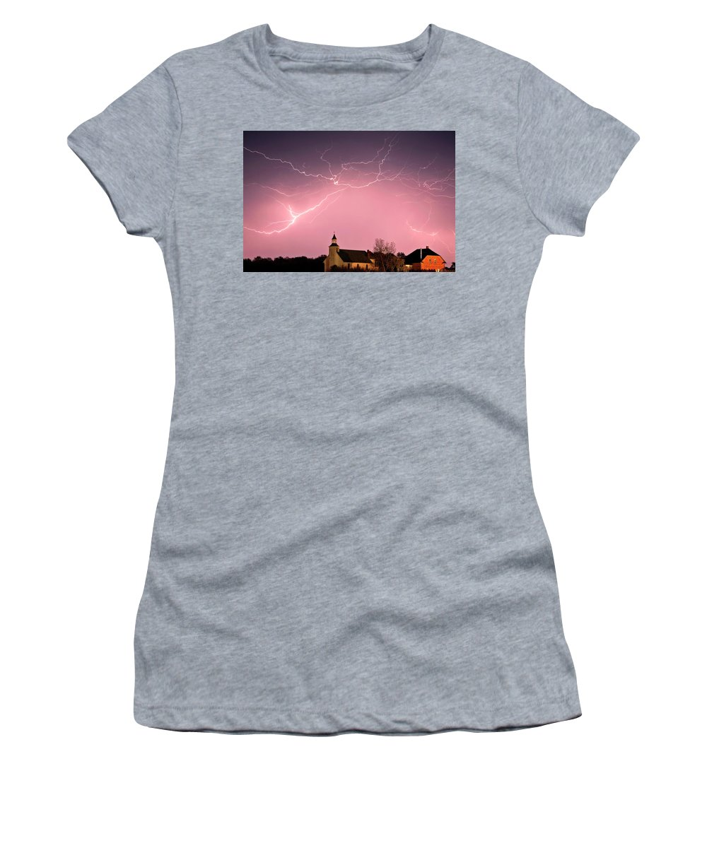 Old Women's T-Shirt featuring the digital art Lightning Bolts Over Spring Valley Country Church by Mark Duffy