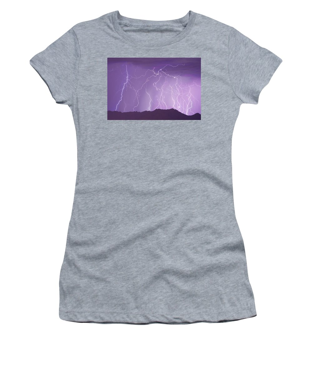 Lightning Women's T-Shirt (Athletic Fit) featuring the photograph Lightning Over The Mountains by James BO Insogna