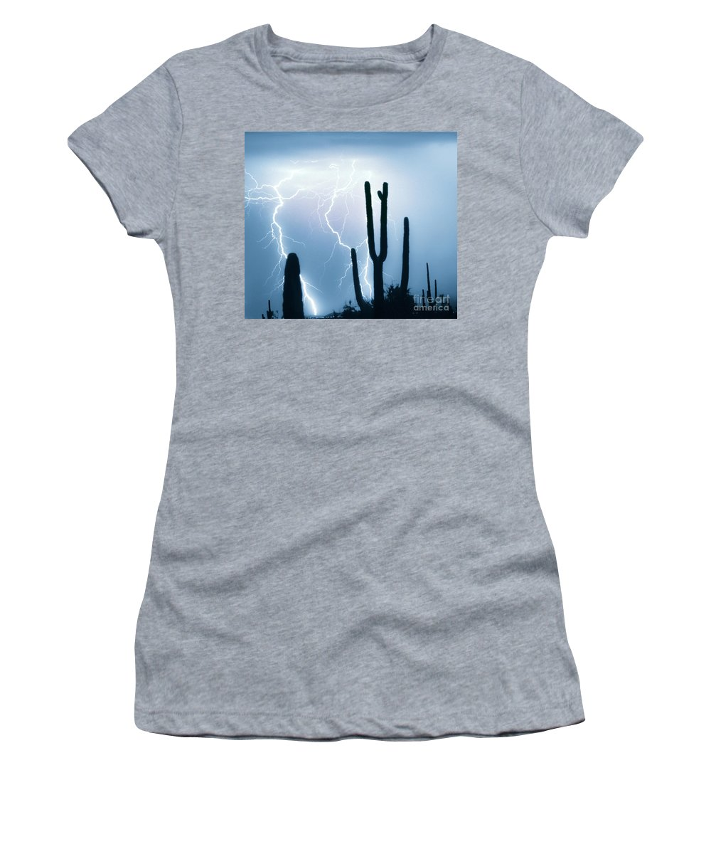 Lightning Women's T-Shirt (Athletic Fit) featuring the photograph Lightning Storm Chaser Payoff by James BO Insogna