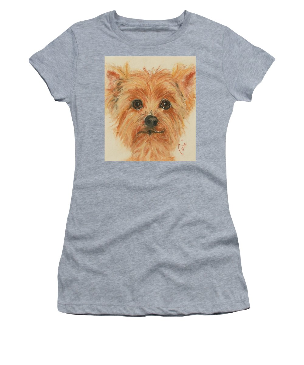 Pastel Women's T-Shirt (Athletic Fit) featuring the drawing Lil Rascal by Cori Solomon