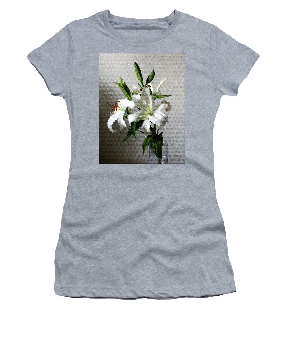 White Flower Women's T-Shirt (Athletic Fit) featuring the digital art Lily Flower by Christopher Shellhammer