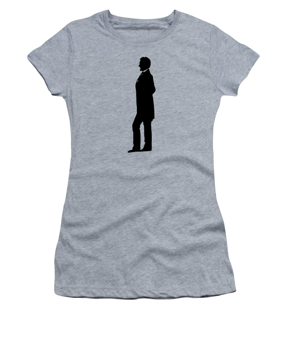 Abraham Lincoln Women's T-Shirt featuring the digital art Lincoln Silhouette And Signature by War Is Hell Store