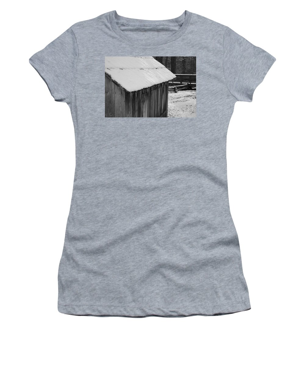 Landscape Women's T-Shirt (Athletic Fit) featuring the photograph Little Brown Shed by Eric Liller