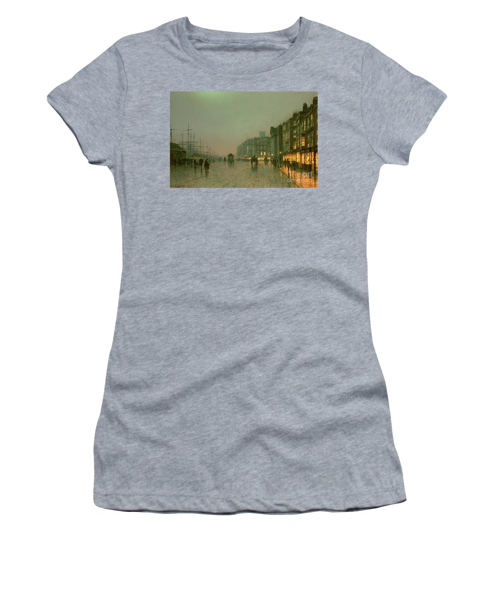 Liverpool Docks From Wapping Women's T-Shirt (Athletic Fit) featuring the painting Liverpool Docks From Wapping by John Atkinson Grimshaw