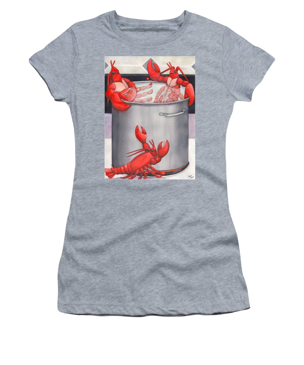 Lobsters Women's T-Shirt (Athletic Fit) featuring the painting Lobster Spa by Catherine G McElroy