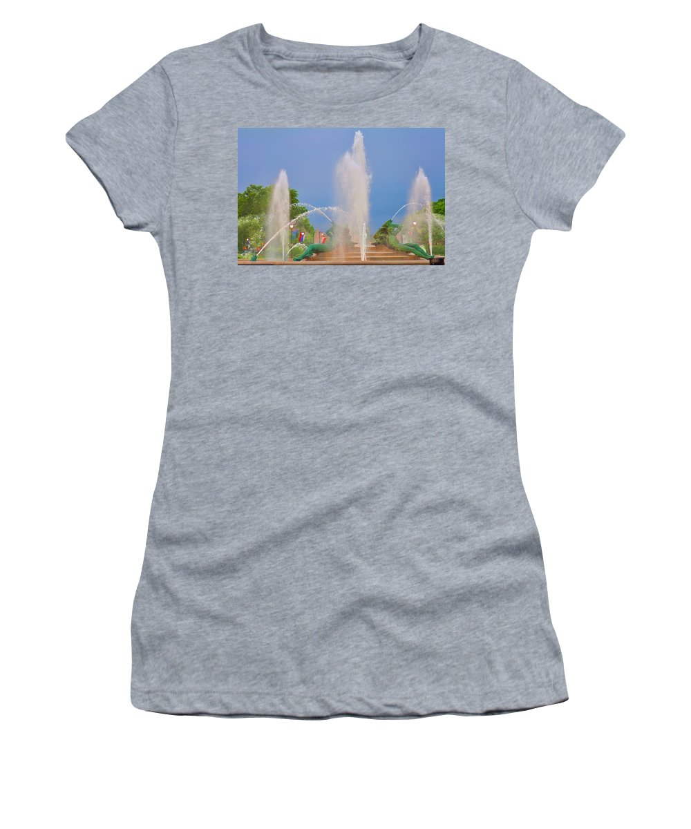 Fountain Women's T-Shirt (Athletic Fit) featuring the photograph Logan Circle Fountain 2 by Bill Cannon