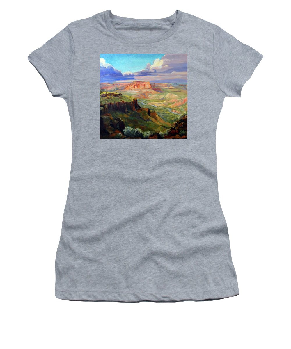 Landscape Women's T-Shirt (Athletic Fit) featuring the painting Look Out At White Rock by Nancy Paris Pruden