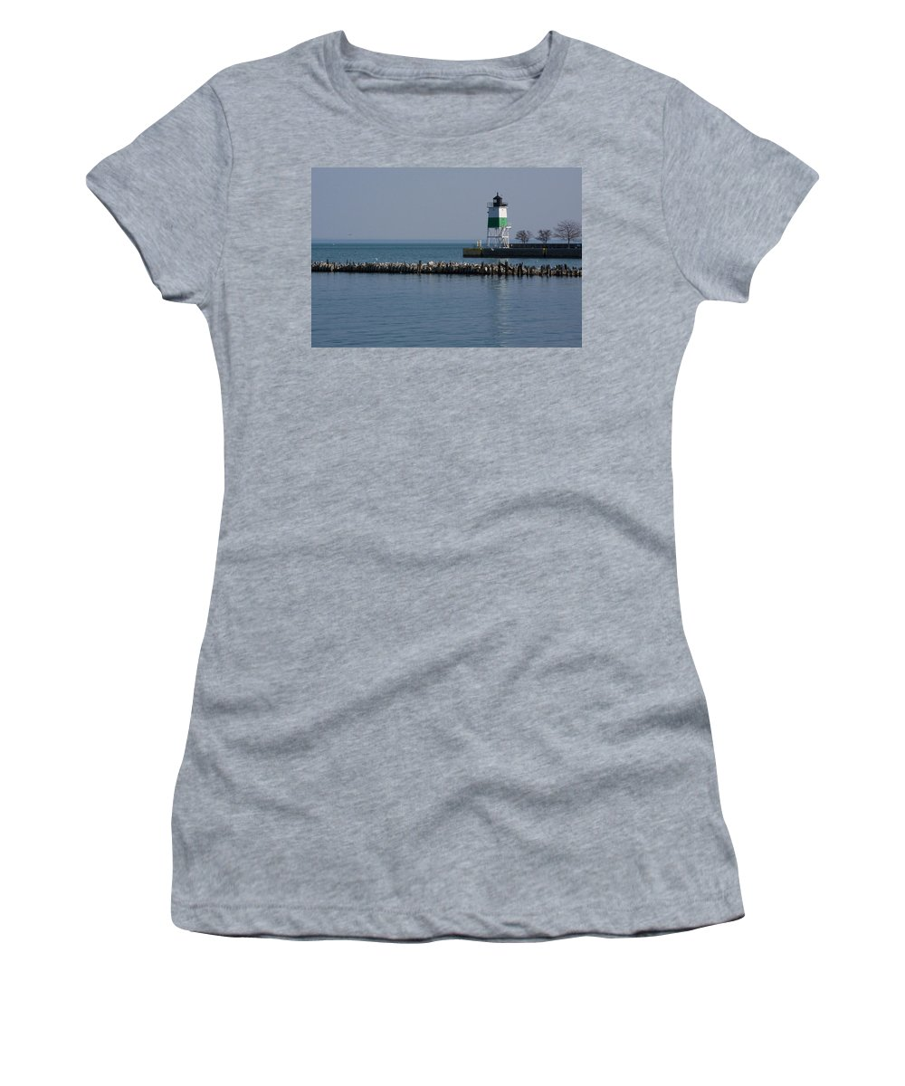 Chicago Lake Michigan Windy City Lighthouse Bird Gulls Water Blue Sky Women's T-Shirt (Athletic Fit) featuring the photograph Looking Far by Andrei Shliakhau