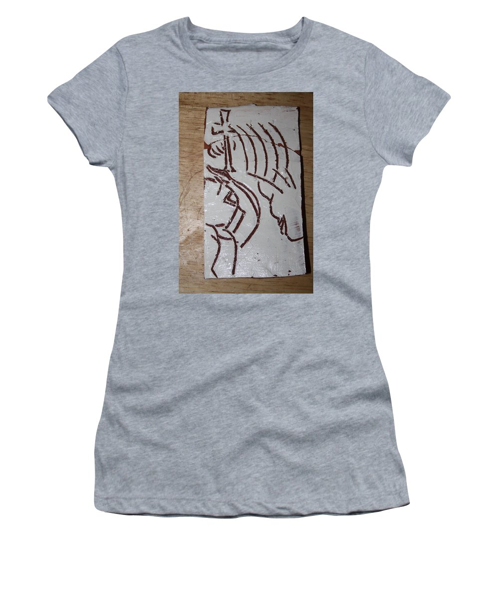 Jesus Elohimplaquesmamamama Africa Twojesus Women's T-Shirt (Athletic Fit) featuring the ceramic art Lord Bless Me 23 by Gloria Ssali
