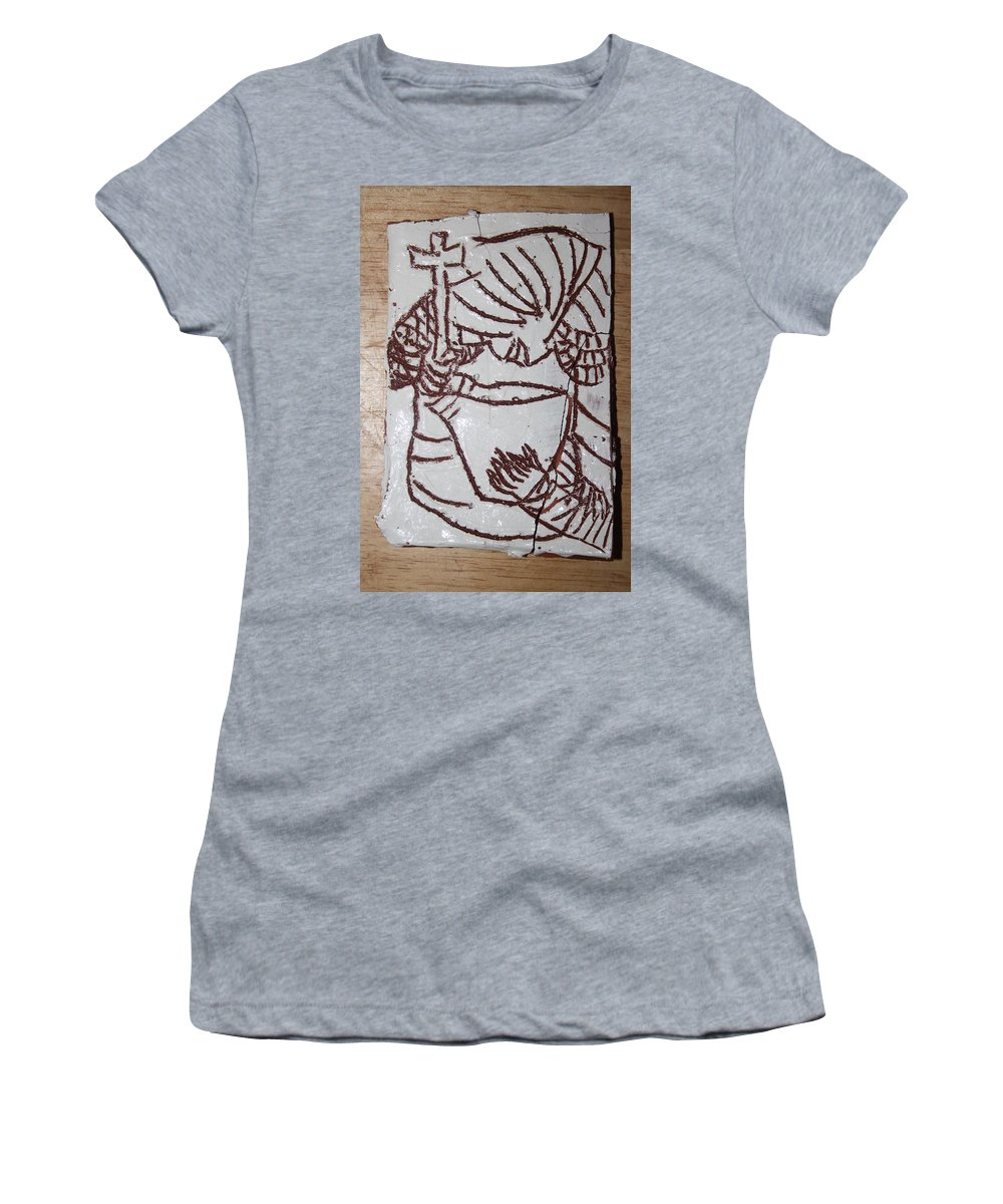 Plaquesmamamama Africa Twojesus Women's T-Shirt (Athletic Fit) featuring the ceramic art Lord Bless Me 24 by Gloria Ssali