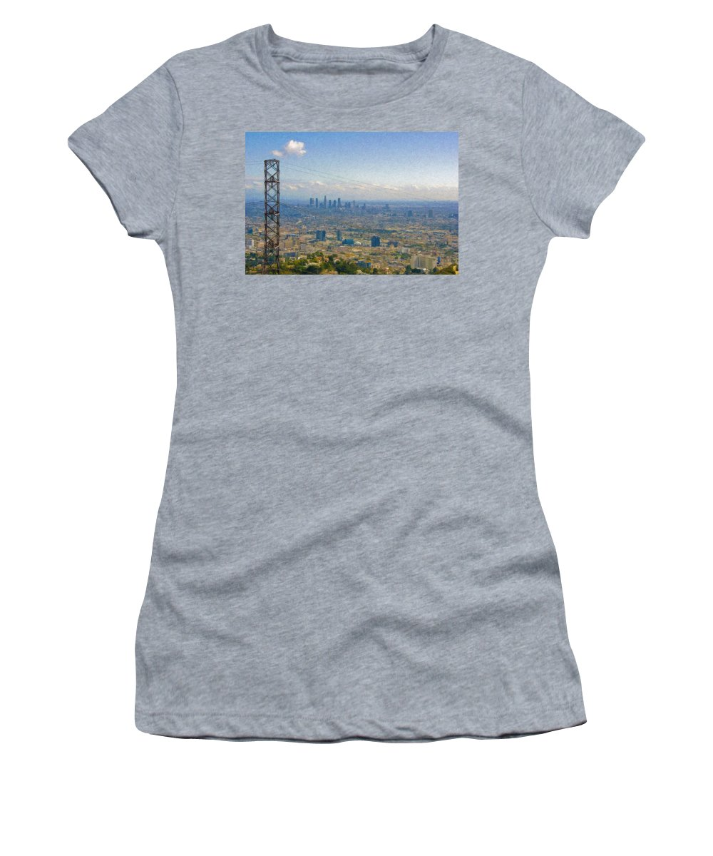 Los Angeles Women's T-Shirt featuring the photograph Los Angeles Skyline Between Power Lines by David Zanzinger