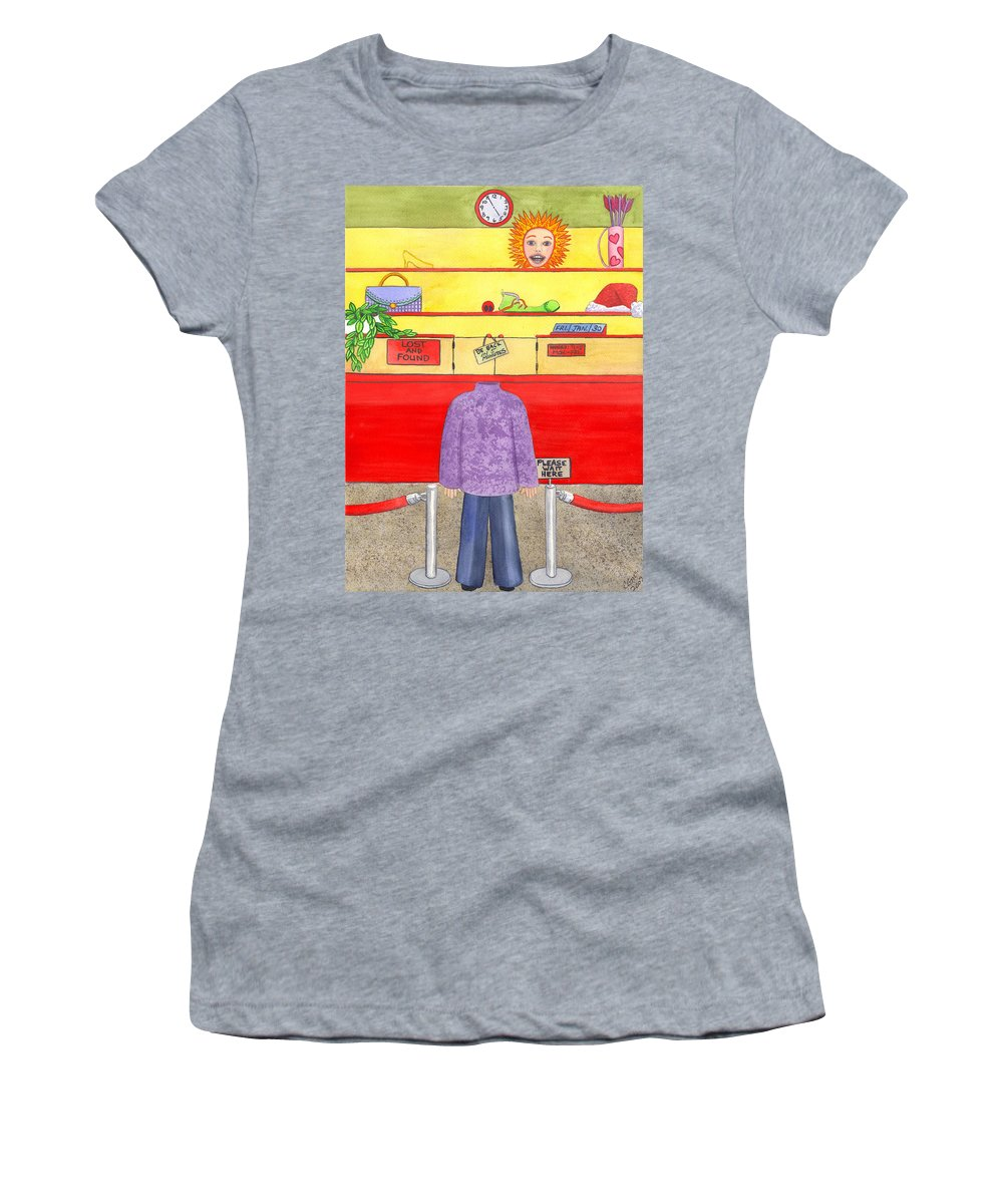 Humor Women's T-Shirt featuring the painting Lose Something by Catherine G McElroy