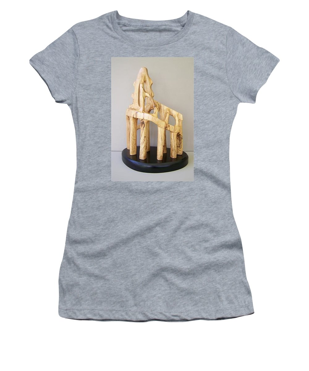Wood-carving-sculpture-abstract- Women's T-Shirt featuring the sculpture Lost Glory by Norbert Bauwens