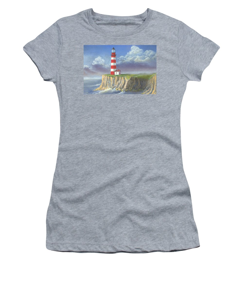 Light Women's T-Shirt (Athletic Fit) featuring the painting Lost Point Light by Jerry McElroy