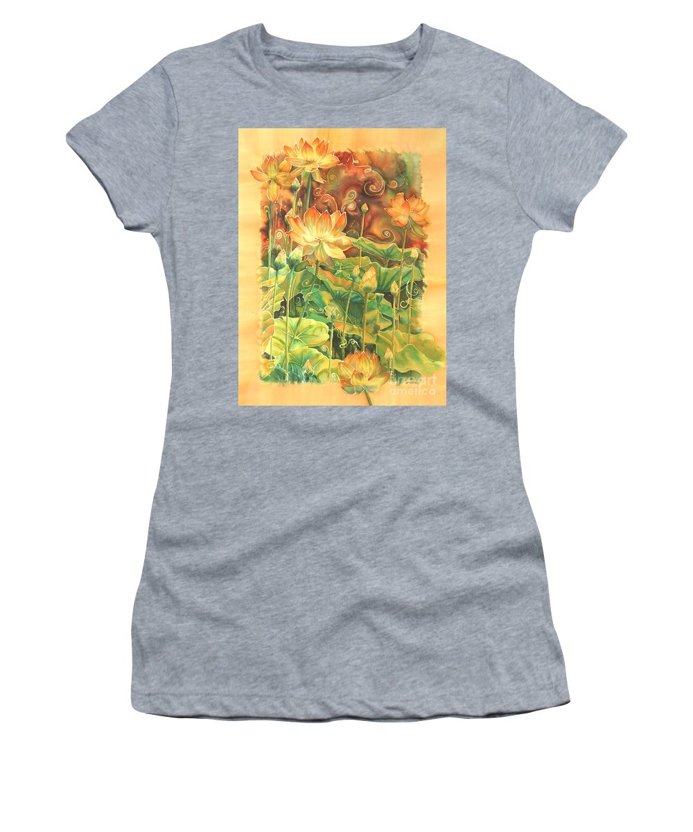 Flower Women's T-Shirt (Athletic Fit) featuring the painting Lotus Field by Deborah Younglao