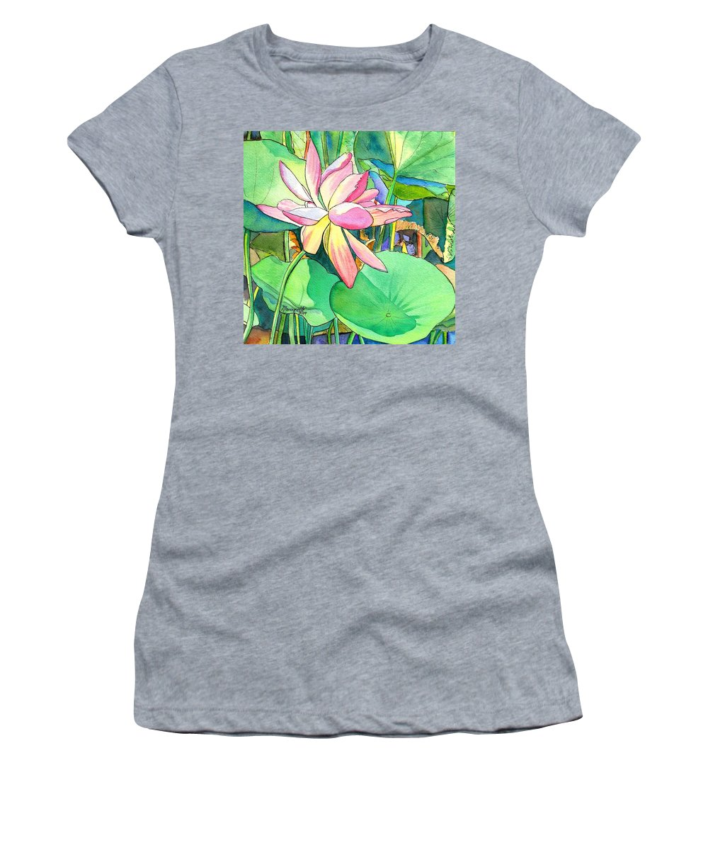 Kauai Women's T-Shirt featuring the painting Lotus Flower by Marionette Taboniar