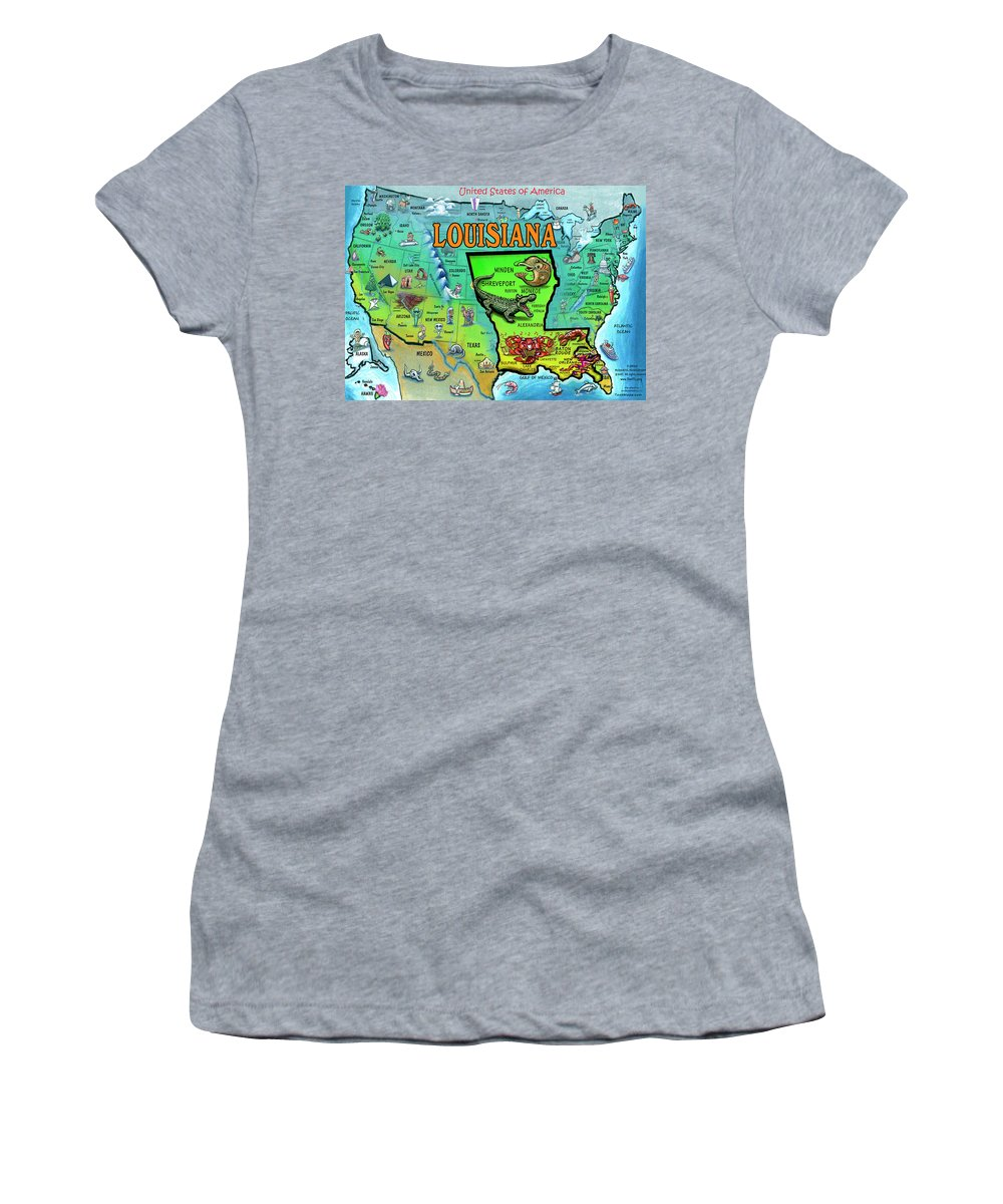 Louisiana Women's T-Shirt featuring the painting Louisiana Usa Cartoon Map by Kevin Middleton