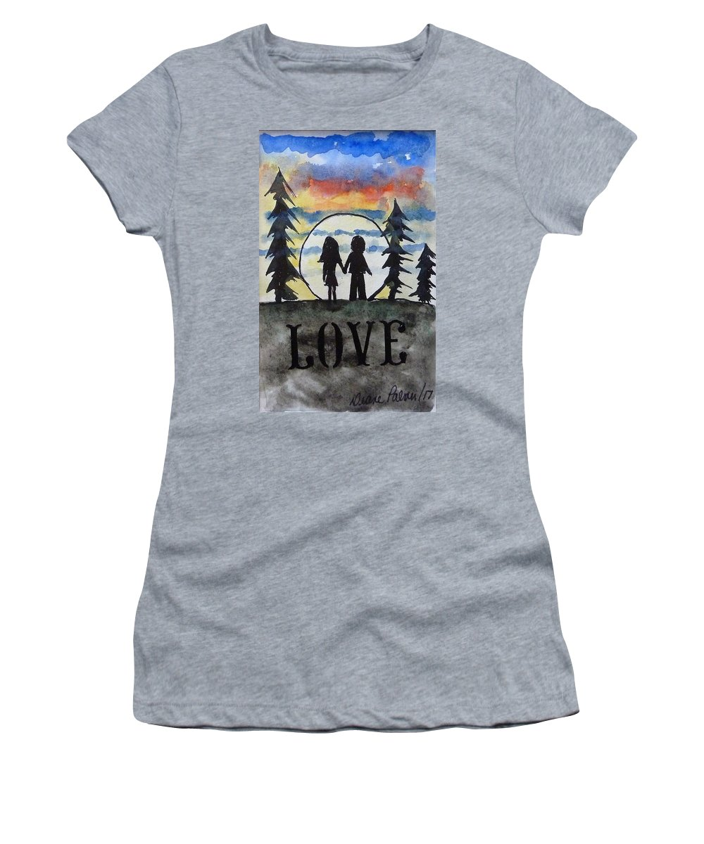 Love Women's T-Shirt (Athletic Fit) featuring the painting Love by Diane Palmer