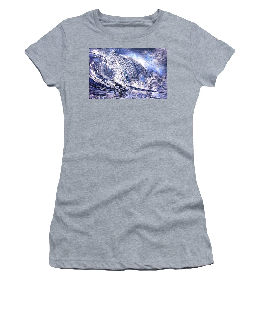 Sports Women's T-Shirt (Athletic Fit) featuring the painting Love Is The Seventh Wave by Miki De Goodaboom