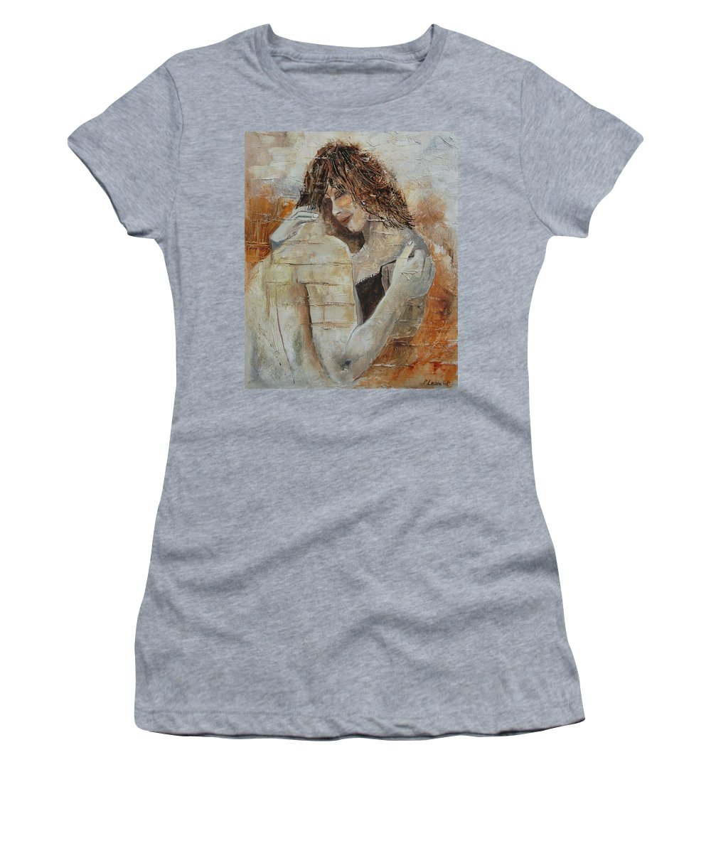 Girl Women's T-Shirt (Athletic Fit) featuring the painting Loving Couple by Pol Ledent