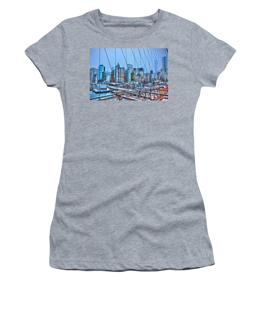 Brooklyn Women's T-Shirt featuring the photograph Lower East Side At Dusk From The Brooklyn Bridge by Randy Aveille