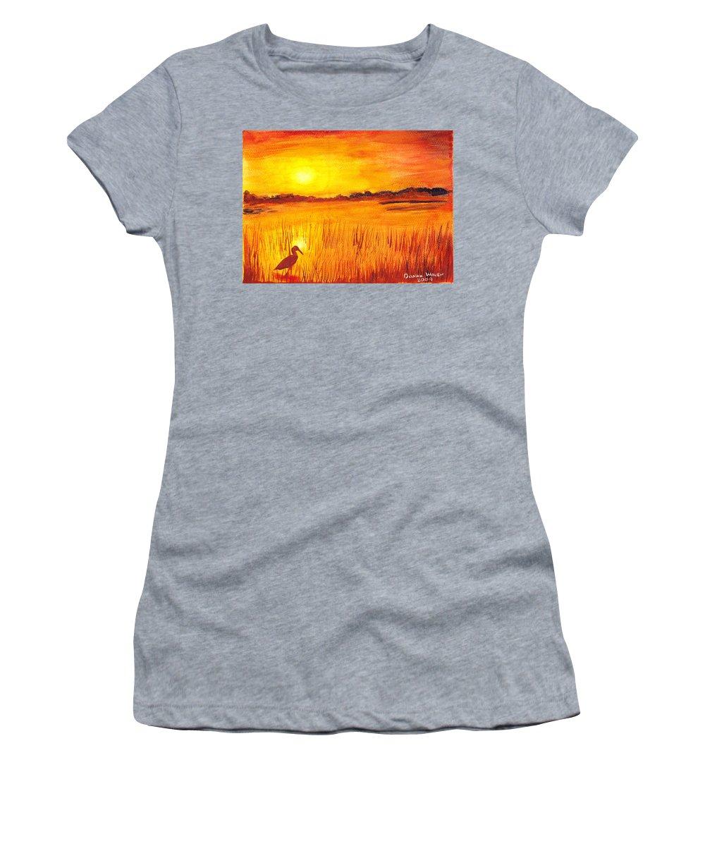 Loxahatchee Sunrise Women's T-Shirt (Athletic Fit) featuring the painting Loxahatchee Sunrise by Donna Walsh