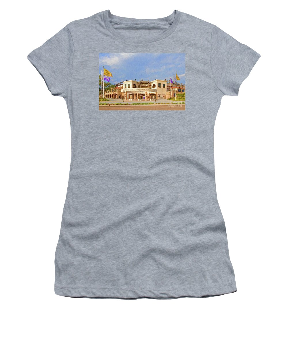 Digital Painting Women's T-Shirt (Athletic Fit) featuring the photograph Lsu Championship Plaza by Scott Pellegrin