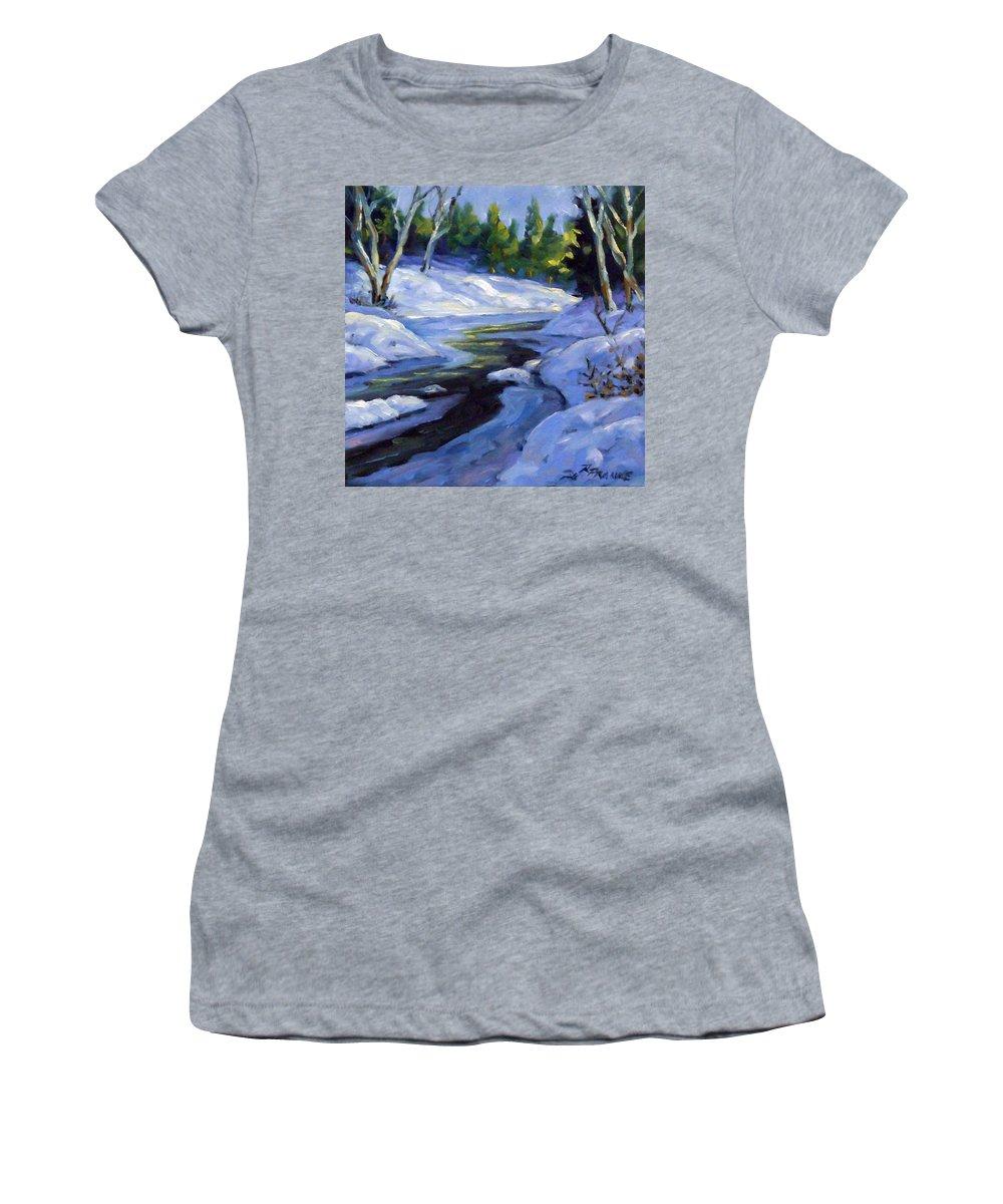 Art Women's T-Shirt featuring the painting Luminous Snow by Richard T Pranke