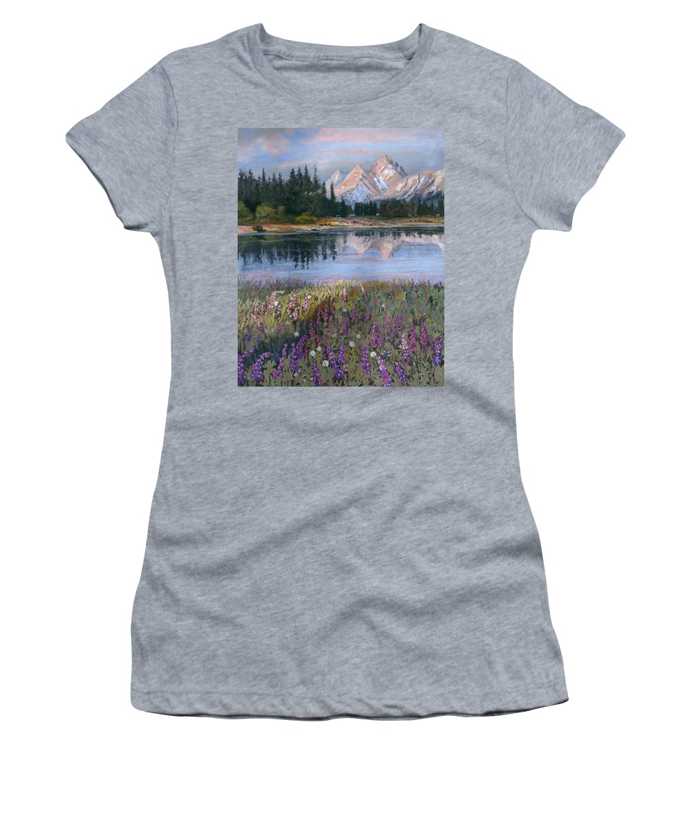 Grand Tetons Women's T-Shirt (Athletic Fit) featuring the painting Lupines At Pilgrim Creek by Heather Coen