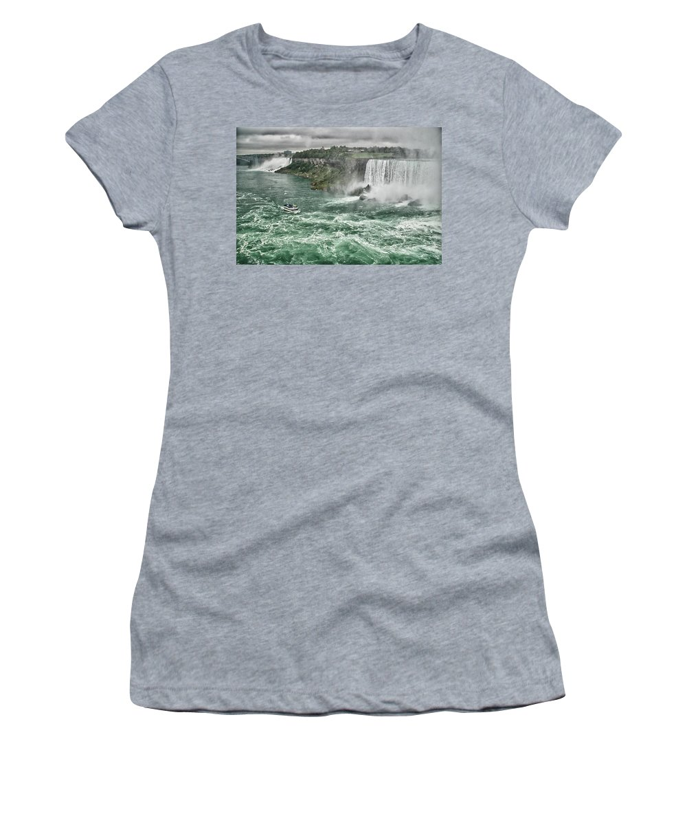 Maid Of The Mist Women's T-Shirt (Athletic Fit) featuring the photograph Maid Of The Mist 8971 by Guy Whiteley