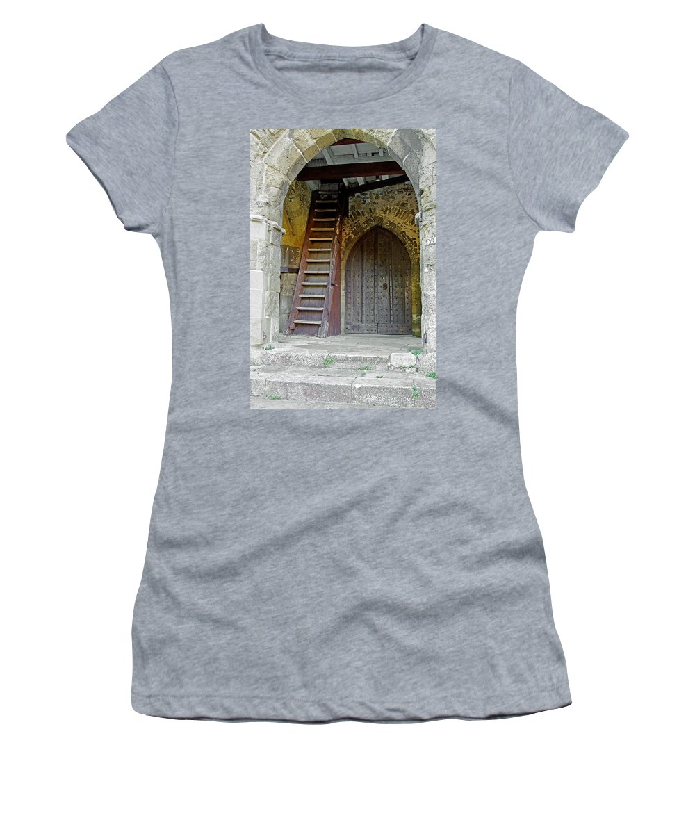 Isle Of Wight Women's T-Shirt (Athletic Fit) featuring the photograph Main Entrance To St Mary's Church At Brading by Rod Johnson