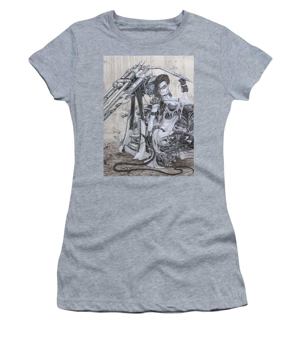 #bike Women's T-Shirt (Athletic Fit) featuring the drawing Malice by Kristopher VonKaufman