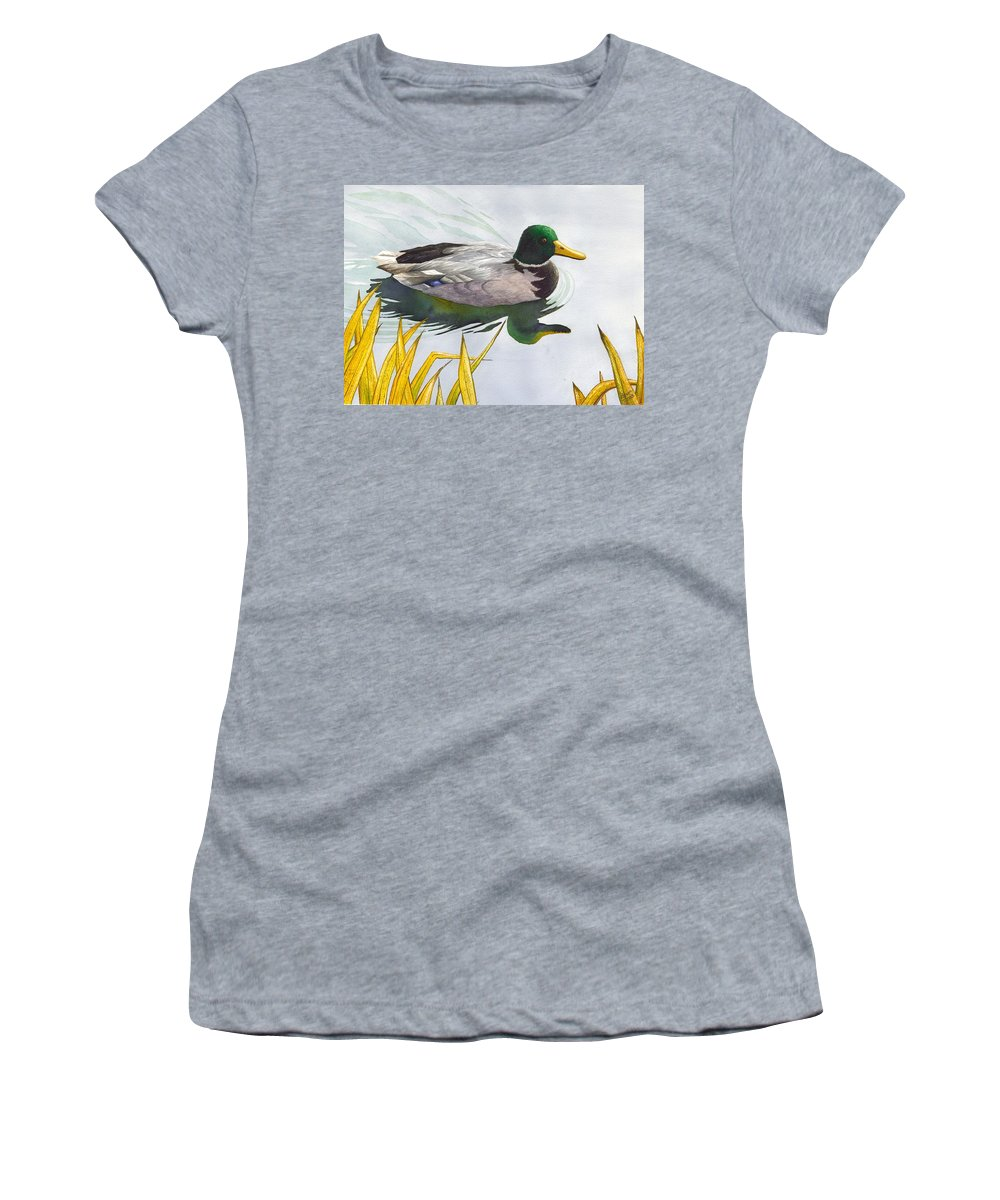 Duck Women's T-Shirt featuring the painting Mallard by Catherine G McElroy