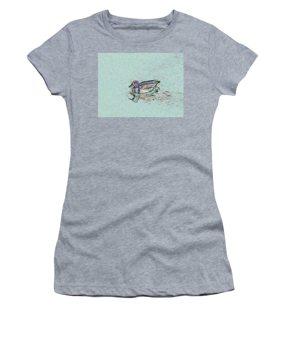 Mallard Women's T-Shirt featuring the photograph Mallards Edge by Tim Allen