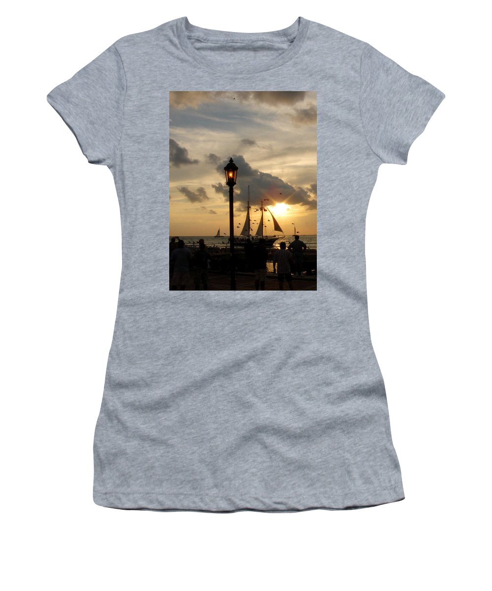 Photography Women's T-Shirt (Athletic Fit) featuring the photograph Mallory Square Key West by Susanne Van Hulst