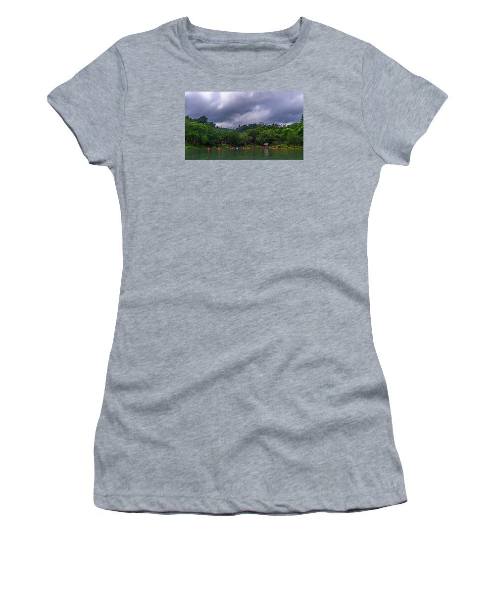 Landscape Women's T-Shirt (Athletic Fit) featuring the photograph Mambukal Clouds by Lik Batonboot
