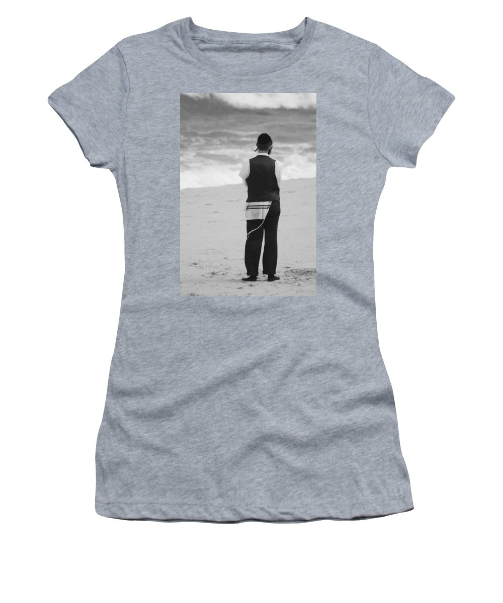 Black And White Women's T-Shirt (Athletic Fit) featuring the photograph Man And The Sea by Rob Hans