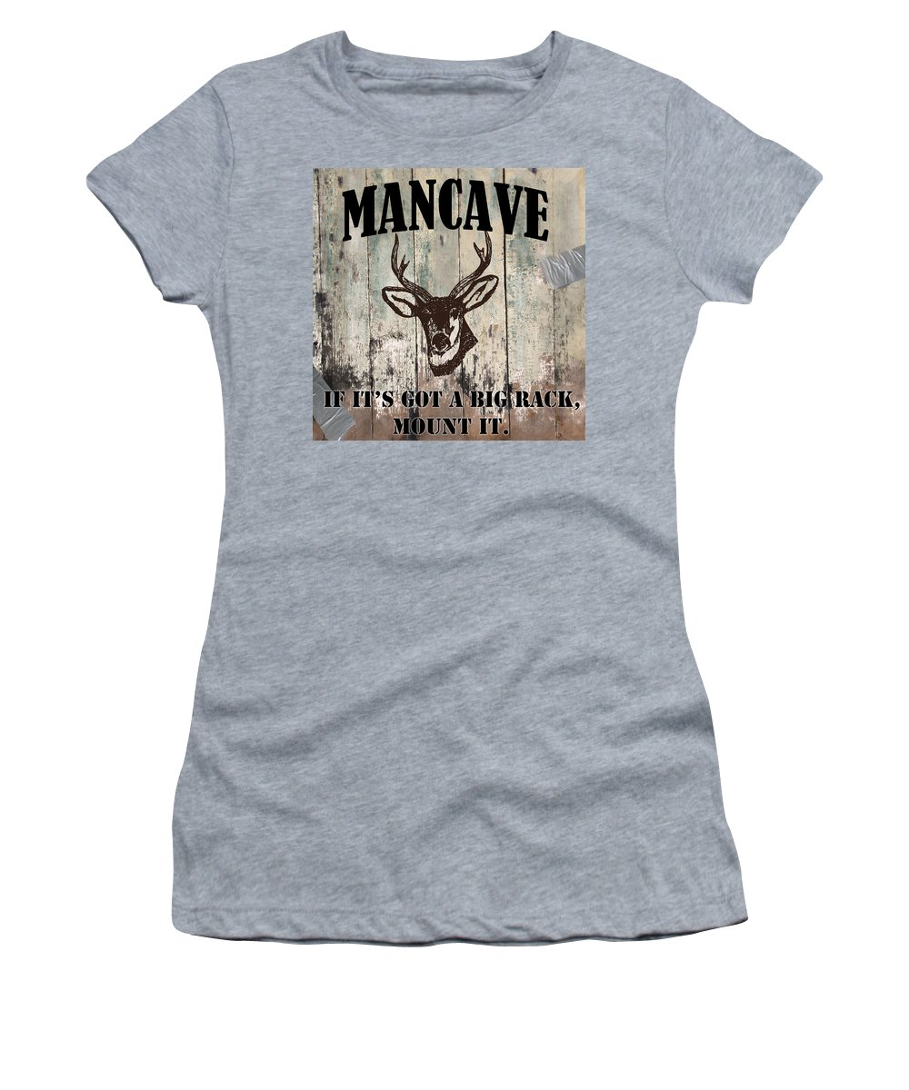 Mancave Women's T-Shirt featuring the painting Mancave Deer Rack by Mindy Sommers