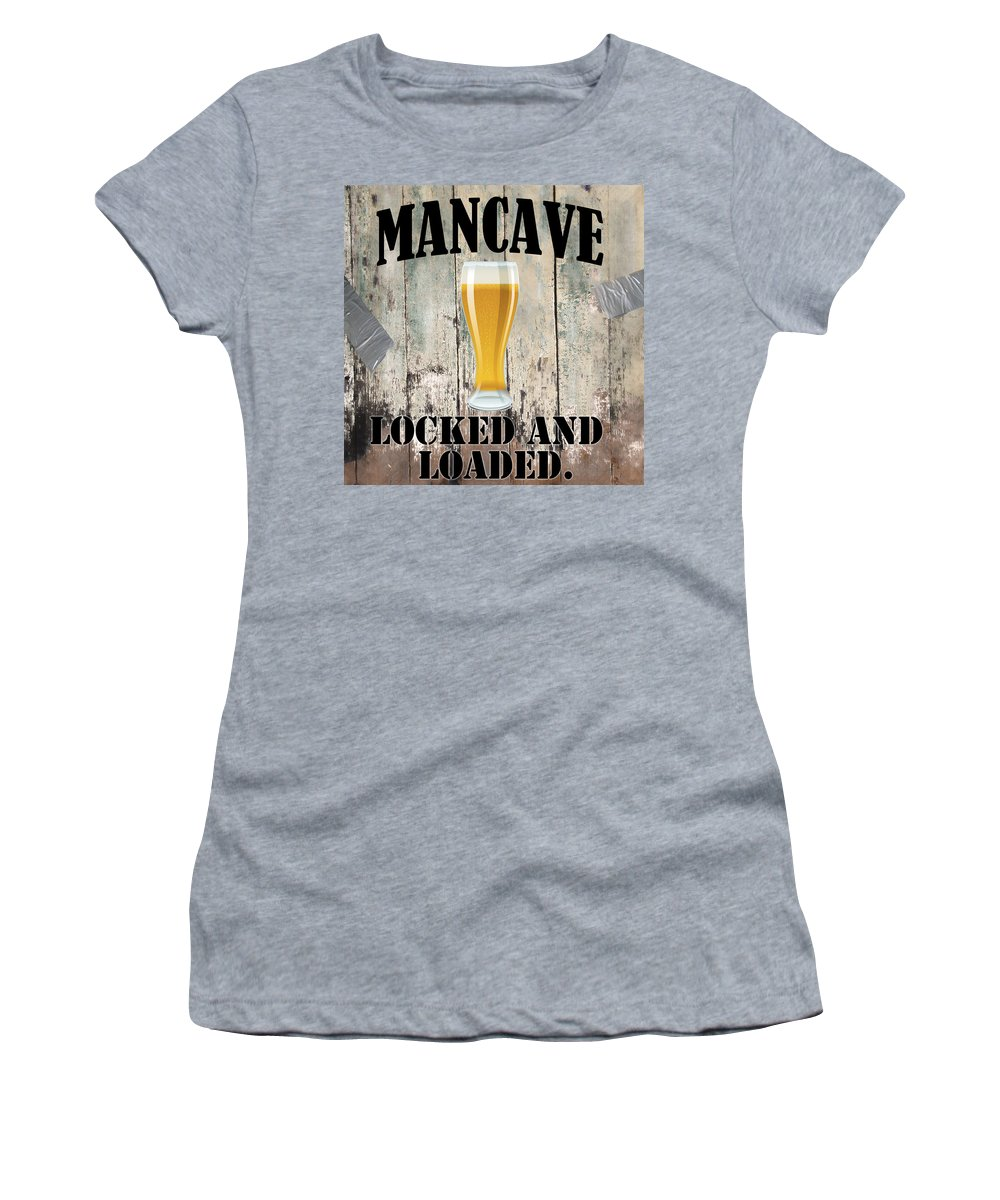 Mancave Women's T-Shirt featuring the painting Mancave Locked And Loaded by Mindy Sommers