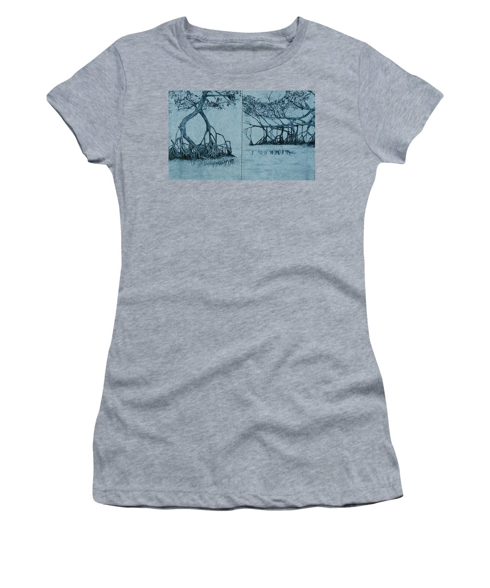 Blue Women's T-Shirt featuring the painting Mangroves by Leah Tomaino