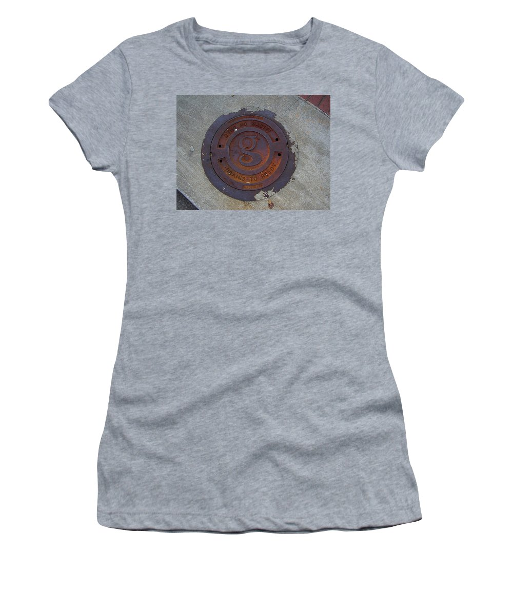 Manhole Women's T-Shirt (Athletic Fit) featuring the photograph Manhole IIi by Flavia Westerwelle